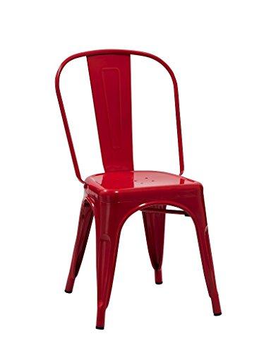1x Esszimmerstuhl Rot Stuhl aus METALL - Küchenstuhl - stapelbar, robust & zeitlos