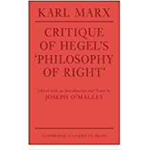 Critique of Hegel's 'Philosophy Of Right' (Cambridge Studies in the History and Theory of Politics)