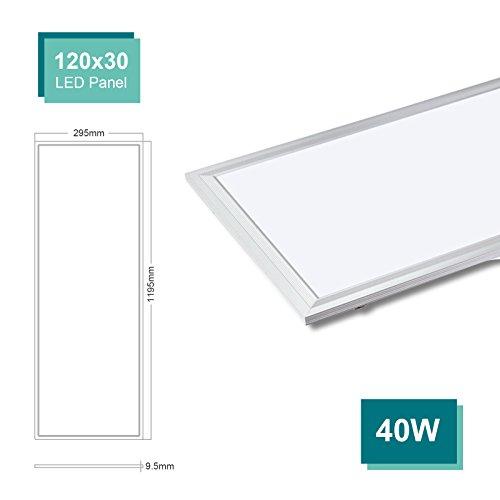OUBO LED Panel 120x30 Deckenleuchte Neutralweiß 40W, 3200lm, 4000K Wandleuchte dünn Ultraslim Weißrahmen