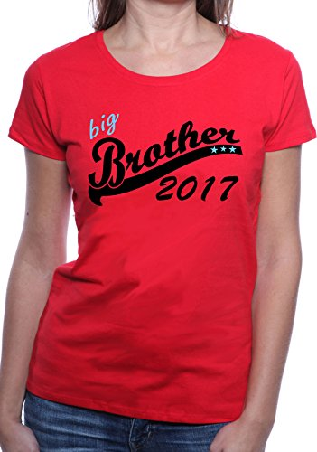 Mister Merchandise Ladies Damen Frauen T-Shirt Big Brother 2017 Tee Mädchen  bedruckt Rot