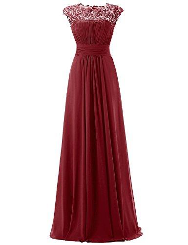 Dresstells, Robe de soirée Robe de demoiselle d'honneur longueur ras du sol forme empire en mousseline dentelle Bordeaux