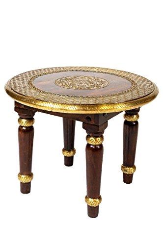 Marokkanischer Wohnzimmertisch Couchtisch aus Holz massiv Sharada 60cm | Vintage Tisch aus...