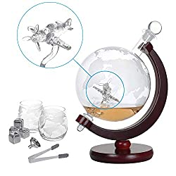 Whiskey Decanter Set Globus Karaffe 1500 ml mit 2 Gläser, Eiszange, Whiskey Steine, Glasstopfen - Flugzeug