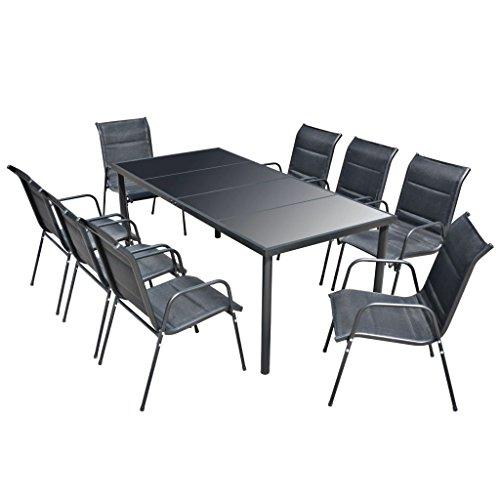 Festnight 9-tlg. Sitzgruppe Essgruppe Sitzgarnitur Gartengarnitur Schwarz (Aus Stahl-rahmen Gehärtetem Glas)