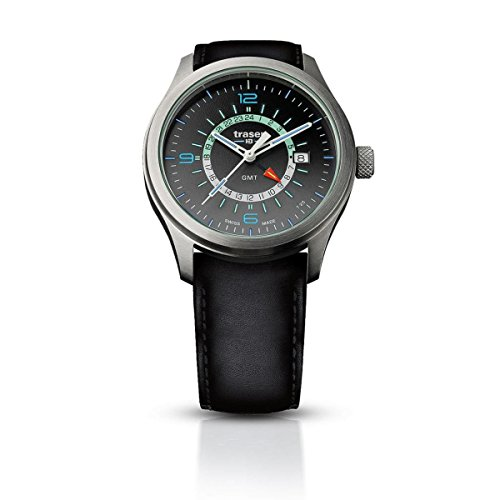 traser H3 Silver P59 Aurora GMT Watch | Leather Watch Band