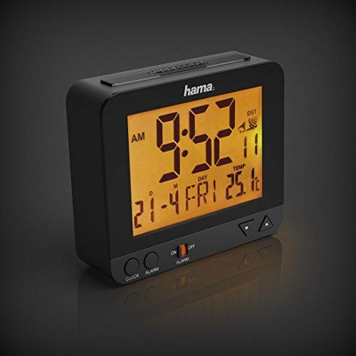 Hama Funk Wecker RC550 – sensorgesteuerte Nachtlichtfunktion, Schlummerfunktion, Temperatur- und Datumsanzeige - 2