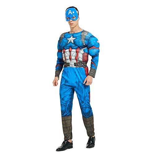 America Avengers Material Kostüm Captain - Hcxbb-b Ausgefallene, Erwachsene Avengers Spider-Man Captain America Supermann Iron Man Optimus Prime Cosplay Muskel Kleidung Hulk (Farbe : Captainamerica, Size : OneSize)