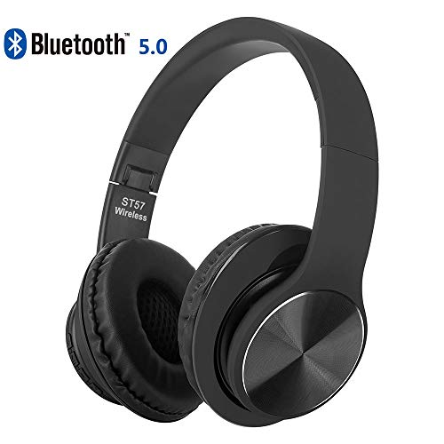 oushizengdouquhua Cuffie Bluetooth 5.0 Headphones Wireless Pieghevole - Audio Stereo Hi-fi Microfono Incorporato con Jack Audio da 3.5 mm, Compatibili con IPhone, Samsung, Telefoni e Tablet Android