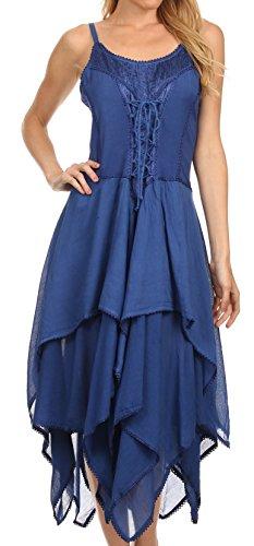Sakkas Robe Ourlet Mouchoir Lady Mary Corsage en Jacquard Bleu