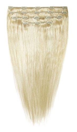 American Dream Lot Tête Complète de Luxueuses Extensions Clip In 100 % Cheveux Humains Couleur 60 Blond Pur