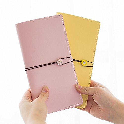 Zhi Jin A5Leder nachfüllbar Notebook Binder Tagebuch Notizblock Diary Cover mit Gummibandverschluss Travel blau