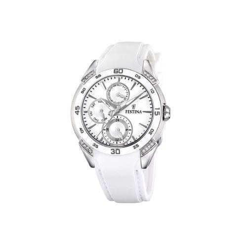 Festina Ladies Watch F16394/1 With Ceramic Inlay And White Rubber Strap