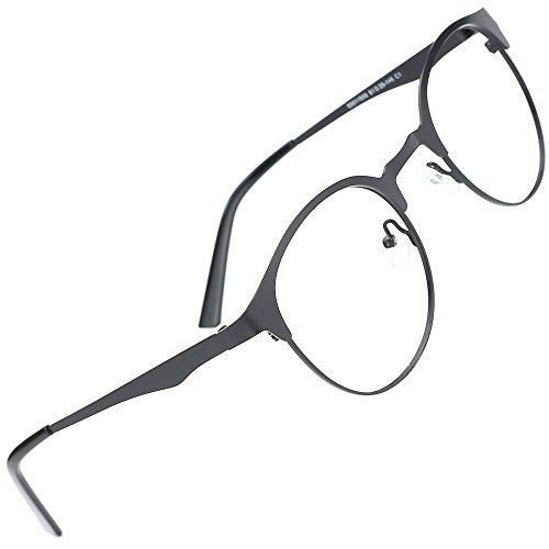 TIJN Retro Nerd Runde Metall Brille Ohne Stärke Gläser Rahmen mit klarem Linse