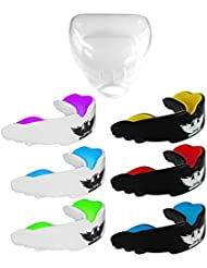 UK Warrior Gum Shield Mouth Guard Gum Guard - Ideal For Contact Sports, Martial Arts, Karate, Rugby, MMA, Boxing, Hockey, Football - Carry Case - Instructions For Boil & Bite - 100% Money Back Guarantee