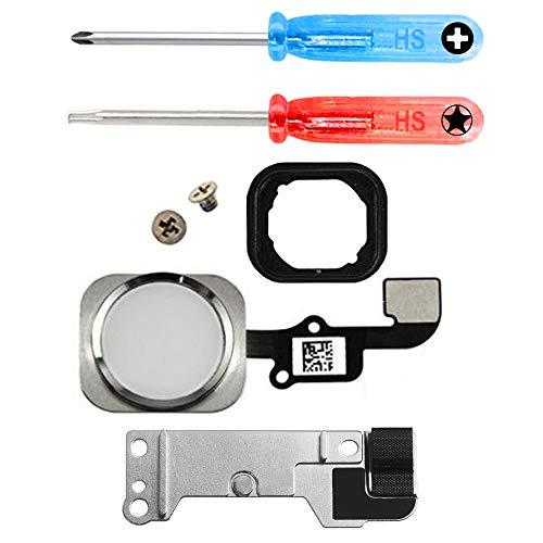 MMOBIEL Home Button für iPhone 6S / 6S Plus (Weiss) Homebutton mit flexkabel Taste inkl. Metal Bracket Gummi Halterung und 2 x Schraubenzieher