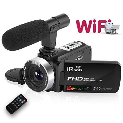 Videokamera Camcorder HD 1080P 30FPS 24.0MP 3 \'\' LCD Touchscreen Nachtsicht Videokamera mit Mikrofon und Fernbedienung