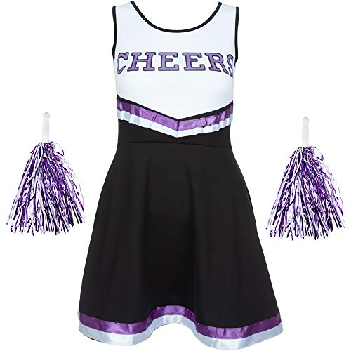 Redstar Fancy Dress - Damen Cheerleader-Kostüm - Uniform mit Pompons - Halloween, American High School - 6 Größen 34-44 - Schwarz/Lila - S