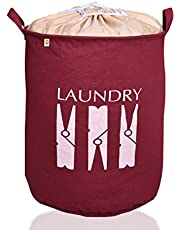 Yellow Weaves™ Laundry Basket for Dirty Clothes, Folding Round Laundry Bag (63 LTR)