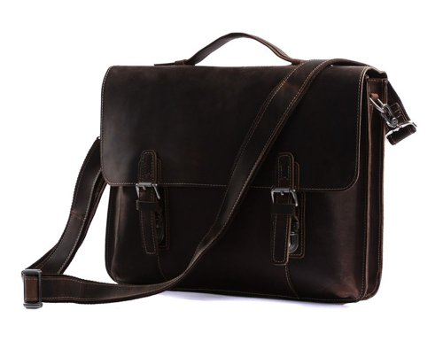YAAGLE Schultertaschen aus 100% HANDGEMACHT verrücktem Pferd Leder Herren Aktentasche Handtasche Messenger Tasche Laptop-Tasche Cowboy, Dunkelbraun, Braun, YA35 (dunkelbraun) braun