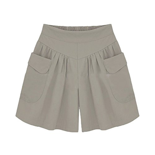 BURFLY Damen Übergrößen Shorts Frauen Plus Größe Solide Lose Hot Pants Taschen Lady Sommer Casual Shorts (5XL, Khaki)