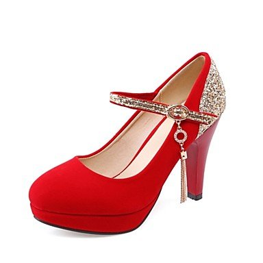 Sanmulyh Chaussures Femme Glitter Matériel Personnalisé Similicuir Nouveauté Talons Hauts À Talons Hauts Bout Rond Pour Vêtements De Sport Rouge Noir Rouge