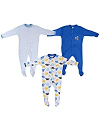 Baby Grow Mini Berry Long Sleeve Cotton Sleep Suit Romper Set Of 3 ( Blue, 0-3 months)