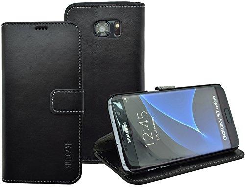 Book-Style Ledertasche Tasche für Samsung Galaxy S7 EDGE *ECHT LEDER* Handytasche Case Etui Hülle (Original Suncase) in schwarz