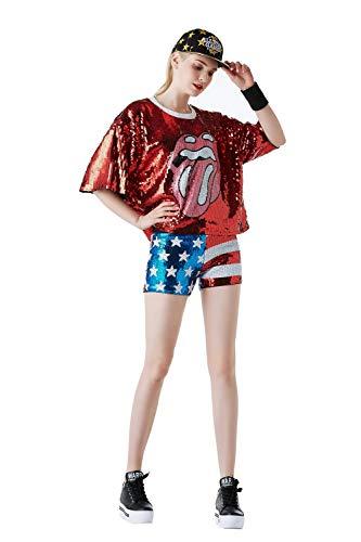 Für Erwachsene Kostüm Jazz - DRESSS Jazz Dance Kostüm Erwachsene Tops Pailletten Hotel DS Modern Dance Street Dance Kostüme (Farbe : Rot, größe : M)