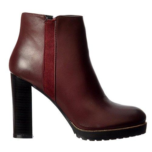 L'oro Delle Donne Onlineshoe Borchie Metà Blocco Tallone Ankle Boot - Nero, Tan, Borgogna Bordo