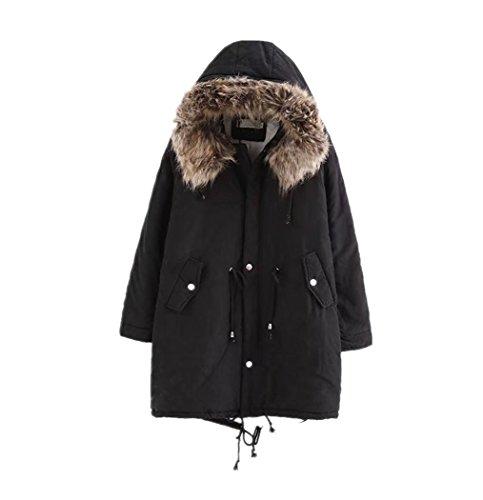 RichDeer Damen Warm Verdicken Winterjacke Mantel Mit Plüsch Kapuze Winddicht Tasche Tunnelzug Kurze Parka Gezeichnet Jacke Outerwear