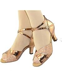 2f2129da Fuxitoggo Zapatos de Baile Latino para Mujer, Zapatos de Baile con Fondo  Suave, Zapatos