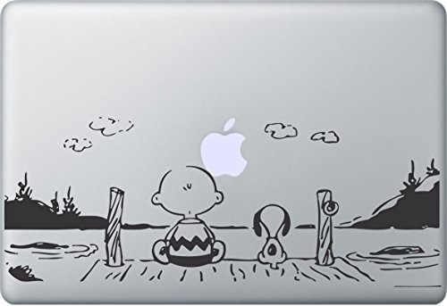 MacDecalDE SNOOPY PEANUTS SUNSET kompatibel mit/Ersatz für Apple MacBook Air Pro Auto Aufkleber Sticker Skin Decal