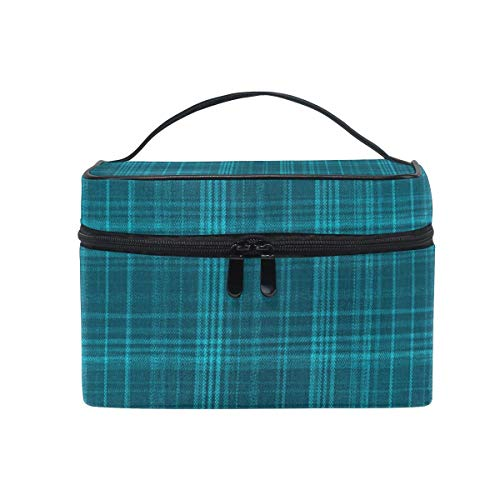 Tragbare hängende Make-up Kosmetiktasche Tasche, Makeup Cosmetic Bag Plaid Blue Pattern Fabric Effect Portable Travel Train Case Toiletry Bags Organizer Multifunction Storage