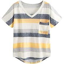 OPAKY Camiseta de Manga Corta con Cuello en V y Blusas con Cuello en V para
