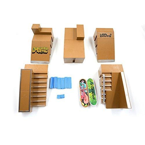 Kidsdreams 5pcs Skate Park Kit Ramp Teile für Tech Deck Griffbrett Mini Finger Skateboard Griffbretter Ultimate Parks mit 2PCS Finger Boards - Räder Deck Tech