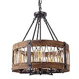 XAJGW Vintage Deckenpendelleuchte Massivholz Kronleuchter Leuchte Insel Pendelleuchte 5-Light Kronleuchter Beleuchtung Hängen Deckenleuchte