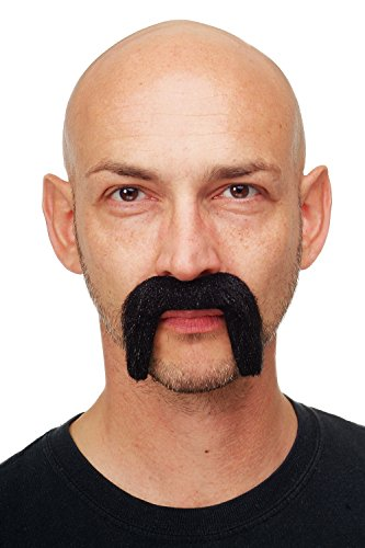 Kostüm Böse Offizier - DRESS ME UP - Karneval Fasching Halloween falscher Bart Schwarz Schurrbart Mustache Fu Manchu Viktorianischer Lord Gentleman - MM-75