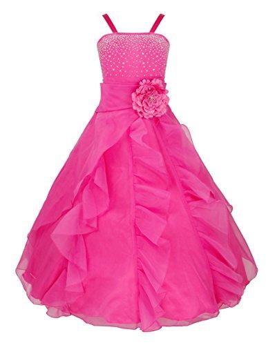 Prinzessin Rose Kostüm Kind - iEFiEL Mädchen Kinder Kleider Festlich Lang Brautjungfern Kleid Prinzessin Hochzeit Party Kleid Gr. 92-164 Rose 92