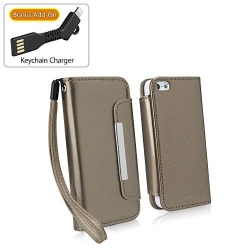 iPhone SE Fall, BoxWave® [Patent Leder Clutch Case mit BONUS Schlüsselanhänger Ladegerät] Vegan Leder Wristlet/Geldbörse für Apple iPhone SE, 5S, 5–Bronze