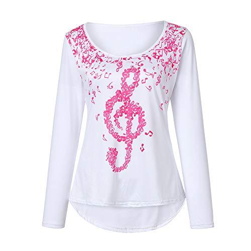 ZIYOU Schlinge Oberteile Tops Frauen, Mode Beiläufig Weste/Elegante Damen Sommer Rundhals T-Shirt Einfarbig Ärmellos Tanktops mit Bandagen(Rosa-rot-Langarm, EU-42 / CN-L) -