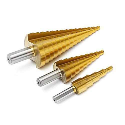 MOHOO Forets étages 3pcs HSS Spiral Groove Bits Trépitau de Titane pour Acier Laiton Bois Plastique 4-12mm/20mm/32mm