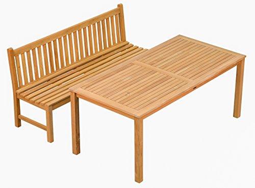 Set! Teak.-Tisch London 180x90cm + Bank Andorra 180cm ohne Armlehnen aus massivem Teakholz  Wetterfest  Nachhaltiges Plantagenholz  Klassisch geformte Balkon-Gruppe, Sitzgruppe aus Holz