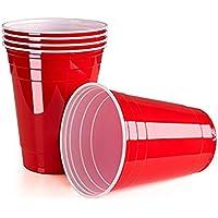 Queta Vasos desechables, 450 ml, vasos de plástico, 50 unidades/juego de