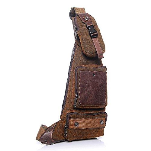 Outreo Brusttasche Vintage Tasche Umhängetasche Herren Schultertasche Reisetasche Retro Sporttasche Canvas Taschen Herrentaschen für Sport Braun