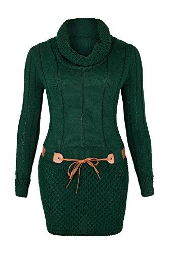 AO Robe Pull Tricote Col roulé Manches longues avec Ceinture Vert