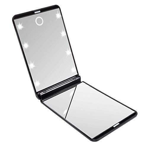 LURICO Espejo de Mano | Espejo de Bolsillo Compacto Iluminado LED - Aumento de 1X/2X - Plegable Espejo...