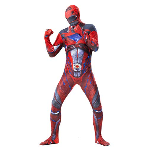 Power Rangers Red SuperSkin Kostüm - Erwachsene Unisex Männer & Frauen Second Skin | Zentai Onesie Kleidung Outfit Halloween Cosplay Theme Party Lycra,M