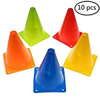 JETTINGBUY 7 Inch Training Cones for Kid Adult Sports Set of 10 Training Traffic Cones Multipurpose Football Cones for Outdoor and Indoor Gaming and Festive Events