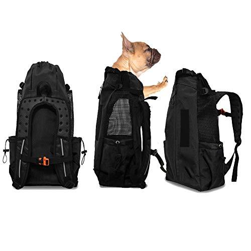 FLKENNEL Hunderucksack für mittelgroße kleine Hunde, Komfortrucksack-Tragetasche, Oberseite offen, weiche Seite, atmungsaktives Netz für Reisen, Wanderabenteuer, Camping im Freien,Black,L