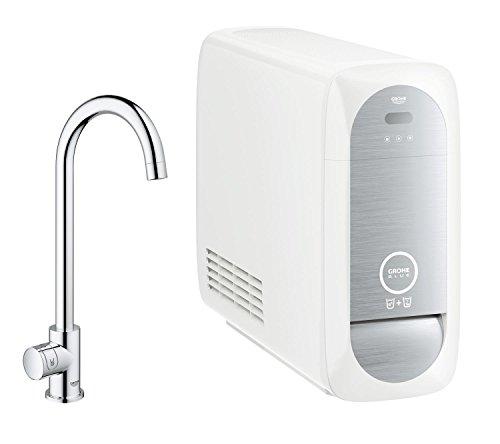 Preisvergleich Produktbild Grohe Blue Home Mono, Starter Kit, in chrom, als Ergänzung zu Ihrer bestehenden Küchenarmatur, C-Auslauf, 31498000